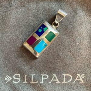 Silpada silver pendant & multi-colored inlays